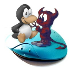 Tux and Daemon riding the manta